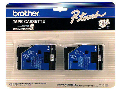 """New Brother TC20 Black on White Tape 1/2"""" P-touch, Ptouch TC-20"""