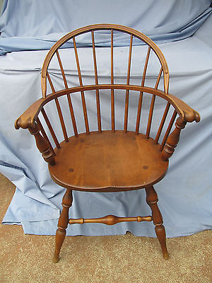 Vintage Antique Conant Ball Maple Wood Windsor Back Arm Desk Dining Accent Chair