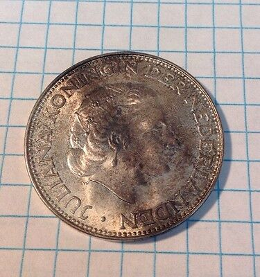 High Grade Antilles Netherlands 1964 2 1/2 Gulden Silver R21