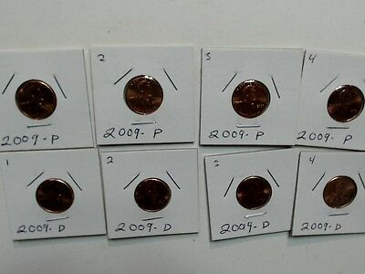 2009 Lincoln Bicentennial Penny 8 pc. Set. P&D  Brilliant Uncirculated