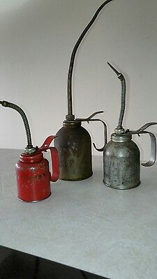 Eagle Eagle Eagle!! 3 Vintage pump Oil Cans