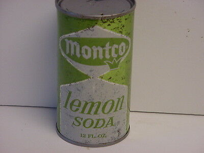 Vintage Montco Lemon Soda Straight Steel Flat Top Opened Pop Can