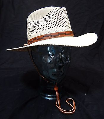 STETSON OUTBACK VENTED Mens Straw Panama Hat Size Medium -  44.99 ... 3de689d19a2