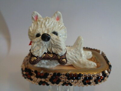 Hand Sculpted**westie West Highland Terrier In A Fancy Dog Bed** Art Figurine