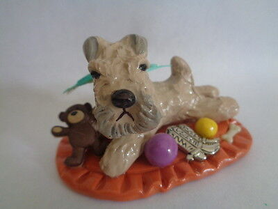 Hand Sculpted*****wheaten Terrier Playing With Teddy Bear & Toys On Rug*****ooak