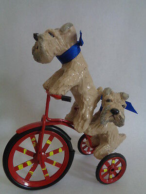 Hand Sculpted****pair Of Wheaten Terriers Riding A Red Tricycle Together****ooak
