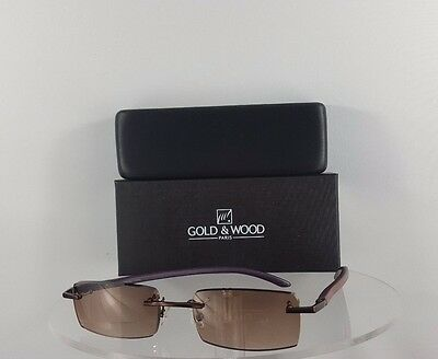 46aa3a7752a Brand New Authentic Gold and Wood Sunglasses A02 33 AcV26 Brown Rimless  Frame