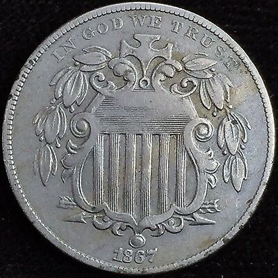 1867 Shield Nickel 5 Cent ~ No Rays ~ Amazing Details!