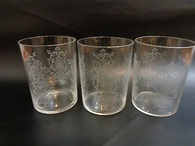 3 Antique Baccarat Crystal Tumblers Fancy Etched Wheel Design