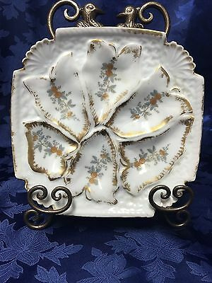 Gorgeous A K Limoges Antique Oyster Plate Square Dated 1881