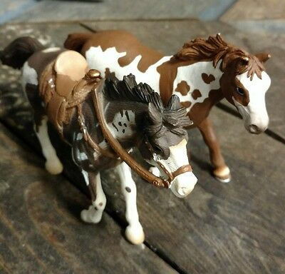 Schleich Paint Horses- Germany 2006 Brown and White/2005 with bridle & saddle