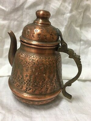 """Antique Islamic Middle Eastern Coffee tea Pot Copper With Brass Handle 7.5"""" Tall"""