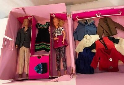 Vintage Barbie and Ken boyfriend with case pink and extra clothes