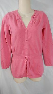 Talbots Girl's size 14 XL PRETTY pink button up cardigan