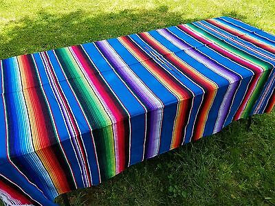 "Mexican Blanket Sarape Saltillo Multi-Colored Aqua Blue (Large 60"" x 84"")"