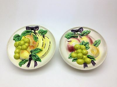 Vintage Pair of Fruit Plate Wall Pockets Nice