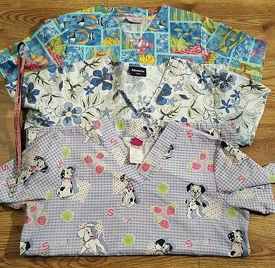 Lot of 3 Graphic Scrub Top Short Sleeve Size M Disney Cherokee Absolute