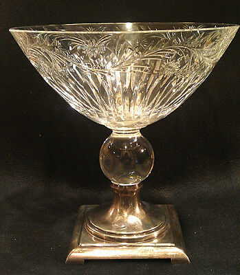 Hawkes Crystal Vase Sterling Silver Base Diamond Cut Glass