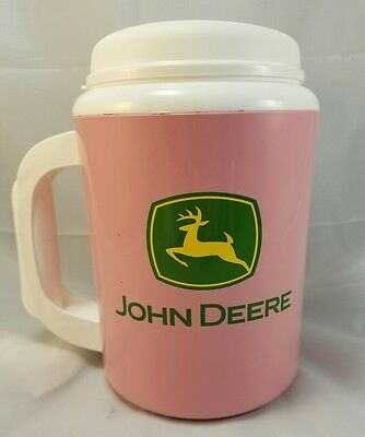 John Deere Thermo-Serv Pink Jumbo Coffee Drink Thermos Extra Large Tractor Cup