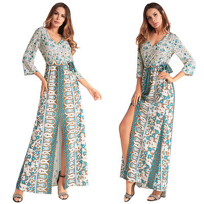 Boho Womens Long Sleeve Vintage Dress Ladies Party Evening Maxi Long Skirt Dress