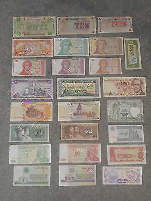 Lot Set of 25 Uncirculated Mixed World Banknotes Foreign Paper Money