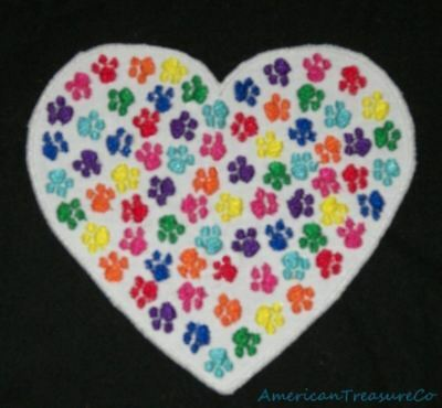 Embroidered Animal Paw Prints Love Rainbow Heart Black Patch Iron On Sew On USA