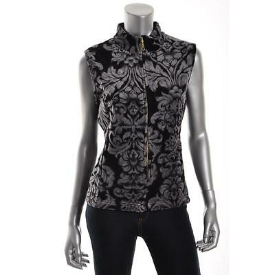 Charter Club 4213 Womens Black Velour Quilted Sleeveless Casual Vest Top S BHFO