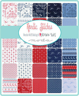 Patchwork/quilting Fabric Moda Charm Squares/packs - Nordic Stitches