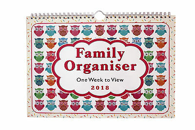 2018 Owls family organiser/ calendar - one week to view for Home/Office,Kitchen