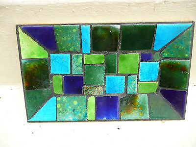 Mid-Century Modern Blue Green Mosaic Tile Table Tray
