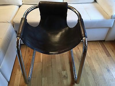 Leather Chrome Cantilever Chair Vintage Armchair Desk 1970s. 2 Avail. Cost £375