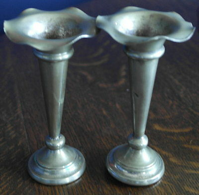 antique pair of small bud vase epurn silver plate VASE