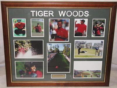 TIGER WOODS Hand Signed & Framed Collage + COA From N.Z Golf Pro *BUY GENUINE*