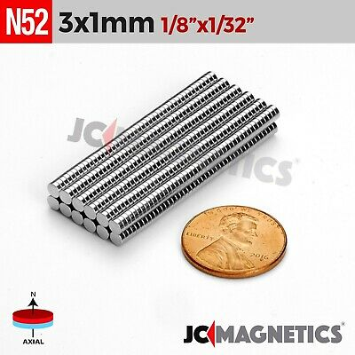 "50 100 1000pcs 3mm x 1mm 1/8""x1/32"" N52 Rare Earth Neodymium Crafts Magnet Disc"