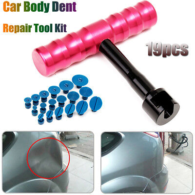 Car Body T-Bar Paintless Dent Repair Removal Puller Lifter Tool Kit 18 Glue Tabs