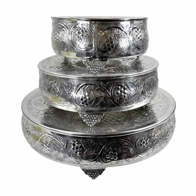 Polished Aluminium Set of 3 Round Traditional Cake Stands