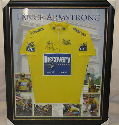 LANCE ARMSTRONG Hand Signed & Framed Jersey + Photo Proof  *BUY GENUINE*