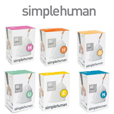 simplehuman Bin Bag Liners Custom Fit Choice of Sizes Code pack of 60 pcs