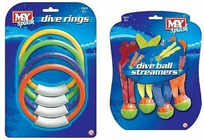 Dive Underwater Ball Streamers & Rings Game Play Swimming Pool Kids Training Aid