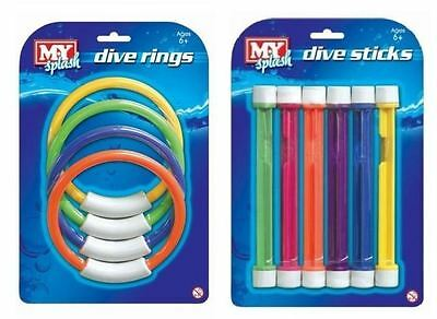Dive Underwater Sticks & Rings Game Play Swimming Pool Training Aids Toy