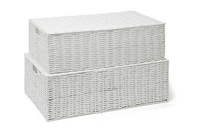 White Resin Woven Under Bed Storage Box Trunk Chest Basket, Large or Medium