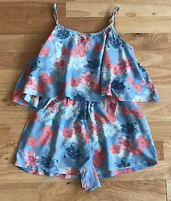 candy couture blue pink floral playsuit age 12-13 years