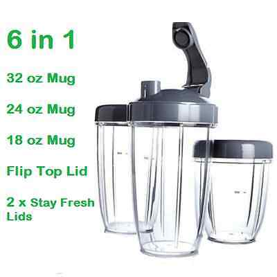 Nutribullet 600w/900w Collossal massive Tall Small Cup Mug 32+24+18oz +3 Lids UK