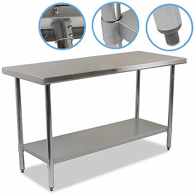"STAINLESS STEEL 60"" x 24"" INDUSTRIAL COMMERCIAL KITCHEN FOOD WORKTOP TABLE BENCH"