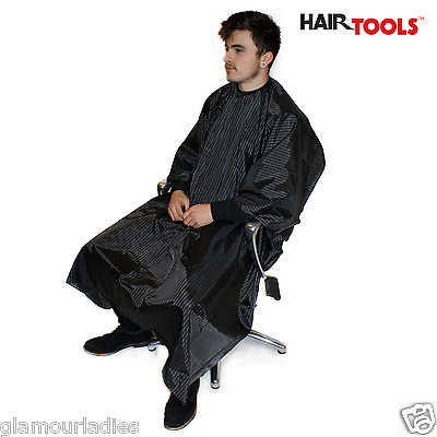 Hair Tools Black Barber Pinstripe Fashion Gown 100% Polyester & For Hairdressing