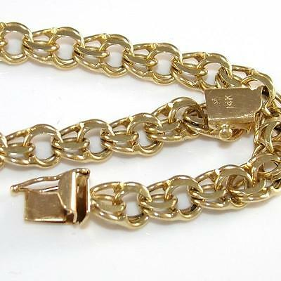 "Solid 14K Yellow Gold Double Figure 8 Starter Charm Chain Link Bracelet 7.5"" ZQ2"