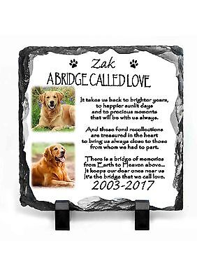 Pet Dog Photo Memorial Slate Personalised Plaque Beautiful Poem Your Pet Picture