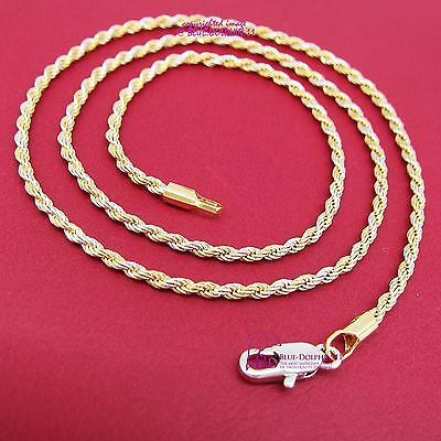 Women Solid 18k Yellow White Gold GF Necklace Rope Chain Diamond Cut Ring Clasp