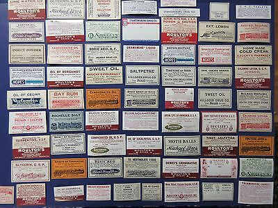 66+Old Pharmacy-Apothecary-Medicine Bottle Labels=Vintage Ephemera=