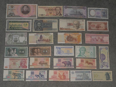 Lot Set of 26 Uncirculated Mixed World Banknotes Foreign Paper Money